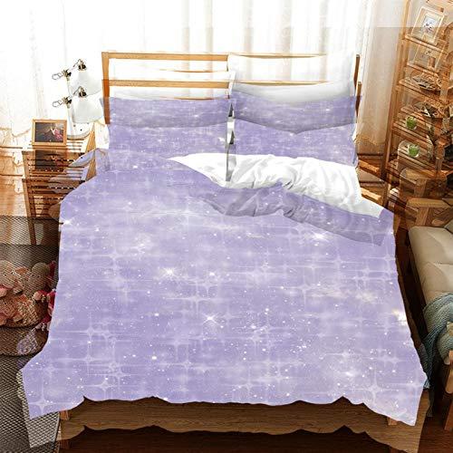 FOssIqU Ropa de Cama de Fibra de poliéster 200x200cm Patrón Estrellado púrpura Hogar Dormitorio Infantil niño niña Dormitorio patrón de impresión 3D algodón Puro Transpirable Super Suave 3 futón