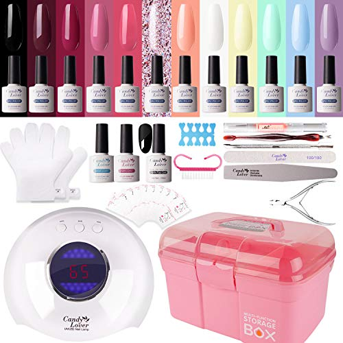 Gel Nail Polish Kit with 36W Lamp - Candy Lover 10ml Macaroon Colors with Base Top Coat Matte Top UV LED Nail Gel Polish Set, Winter Spring Nail Art Accessories Free Storage Box Starter Gift