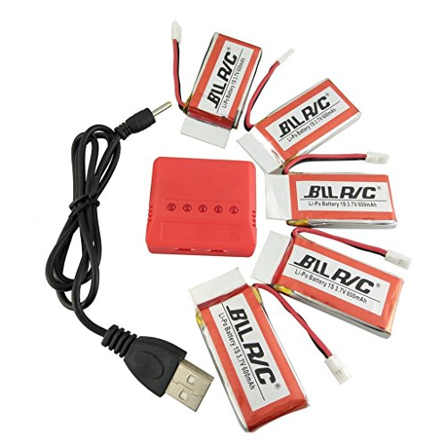 Fytoo 5 PCS 3.7v 600mah 25c Lipo Battery &1pcs 5 in 1 Charger for UDI U45 Syma X5 X5c X5C-1 X5SW X5SC X5SC-1 Protocol Dronium Two Cx-30W Cx-31 SS40 FQ36 T32 T5W H42 Quadcopter Battery Parts