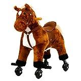 Kinsuite Kids Plush Toy Rocking Horse Walking Toddler Riding Toy Animal Rocker Brown Pony Ride on Plush with Wheels & Sound