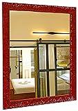 GaviaStore - Julie Rojo 90x70 cm - Espejo de Pared Moderno (18 tamaños y Colores) Grande XXL hogar decoración Salon Modern Dormitorio baño Entrada