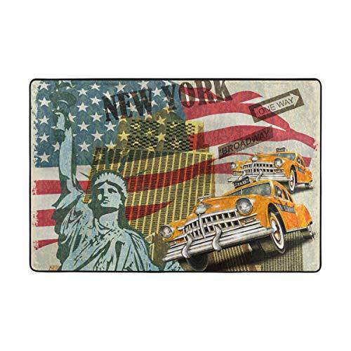 FANTAZIO Teppich Amerikanische Freiheitsstatue Flagge und Retro Auto gerade Teppichgreifer für Ecken und Kanten, idealer Teppichstopper für Küche/Badezimmer, Polyester, 1, 36 x 24 inch