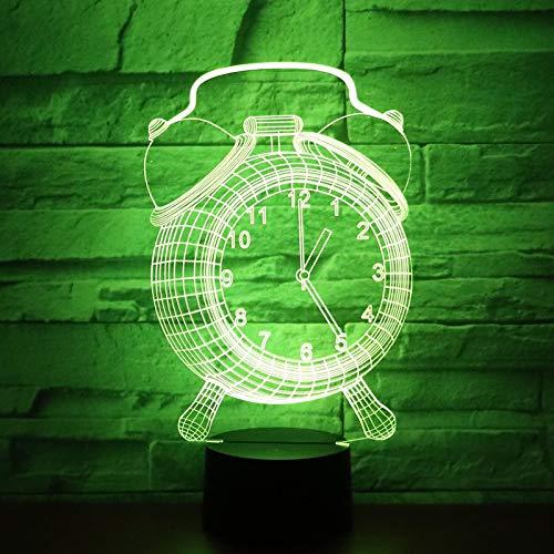 Reloj De Luz Nocturna Led 3D Con Luz De 7 Colores Para Lámpara De Decoración Del Hogar Visualización Increíble Ilusión Óptica Impresionante 1pc