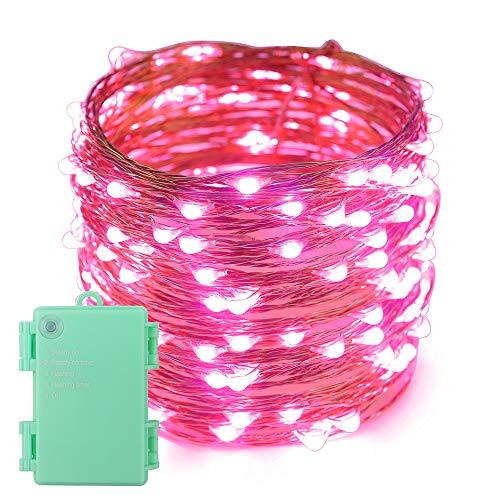 Erchen Batteriebetrieben LED Lichterkette, 66 FT 200 LED 20M Kupfer-Draht Lichterketten mit Timer für Innen Außen Weihnachten Party Garten terrasse (Rosa)