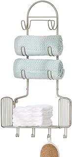 mDesign étagère murale en métal avec 10 crochets pour la salle de bain – rangement mural pour serviettes, gants de toilett...