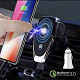 Wireless Car Charger Mount, 10W Fast Qi Car Charger Holder for iPhone X 8 Samsung Galaxy S9 S8 S7 LG Premium Charge Stand Cars Kit with QC3.0 Quick Gravity Dock and Cell Phone Air Vent Set - Upgraded