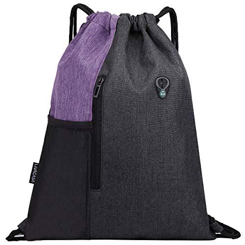 LIVACASA Mochilas de Cuerdas Mujer Hombre Toma USB para Auriculares con Bolsillos Mallas para Botellas Tela Oxford Bolsa de Cuerdas Mochilas Impermeables para Yoga Gimnasio Deportes (Púrpura, 43*33cm)
