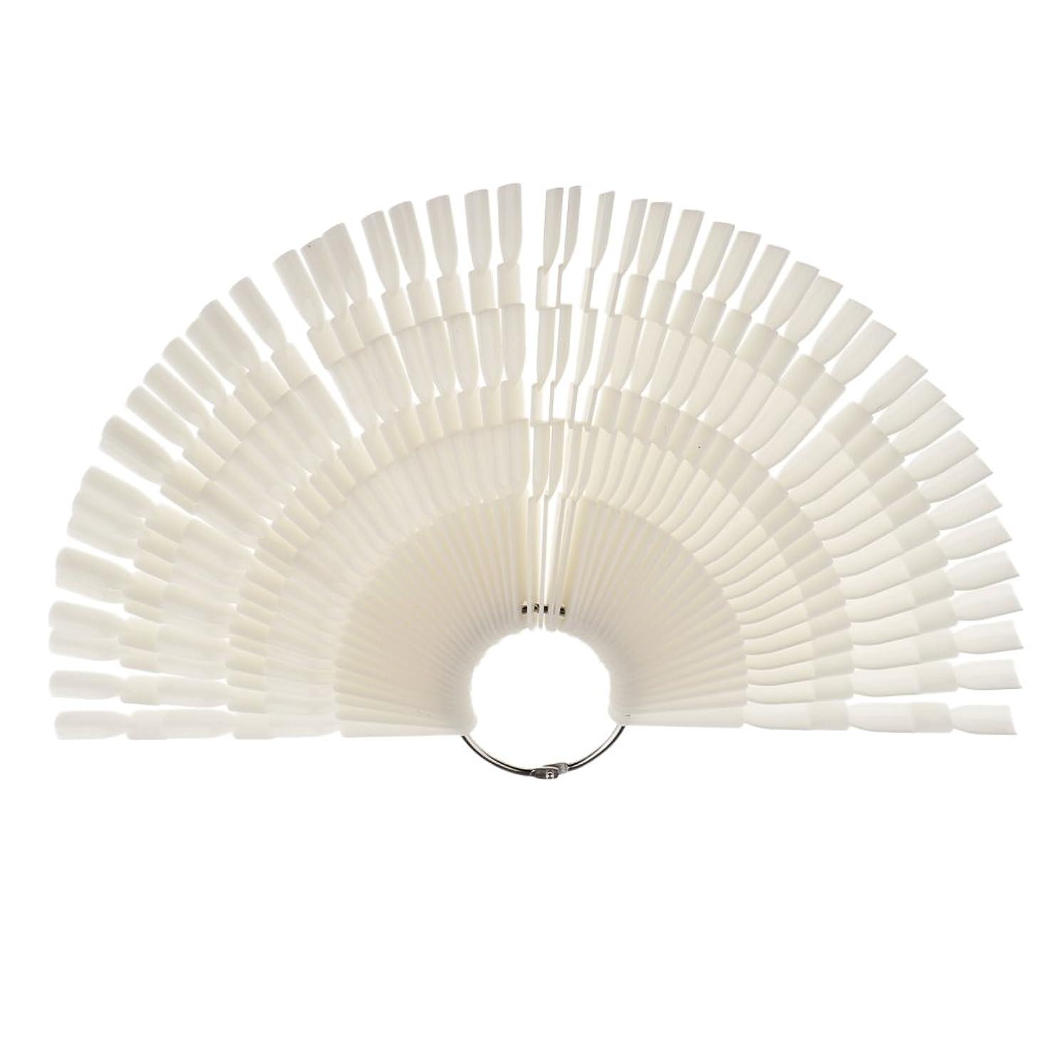 信頼性のあるシミュレートするタービンPerfk ネイルアート カラー表示チャート 約50個の扇形ヒント カラーディスプレイパレット マニキュア モデル 2タイプ選べる - ナチュラル