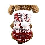 Morbuy Ropa de Perros Gatos, Chaqueta Abrigo Cálido Suéter de Algodón de Invierno Otoño Suave para Perros Pequeños Disfraces Gatos Cachorros Mascotas Navidad Halloween Camisetas (L, Vino Tinto)