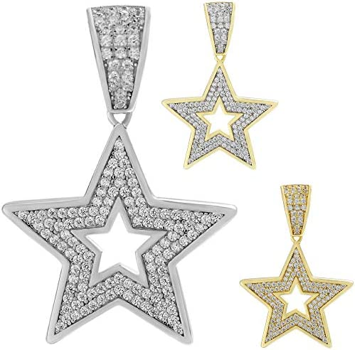 Harlembling Solid 925 Sterling Silver Men s Women s Hip Hop Star Pendant Fully Iced Small Medium product image
