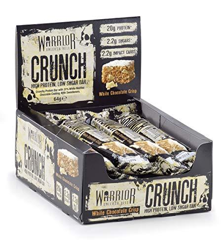 Warrior CRUNCH High Protein Bars - 20g Protein Each - White Chocolate - Pack of 12 x 64g