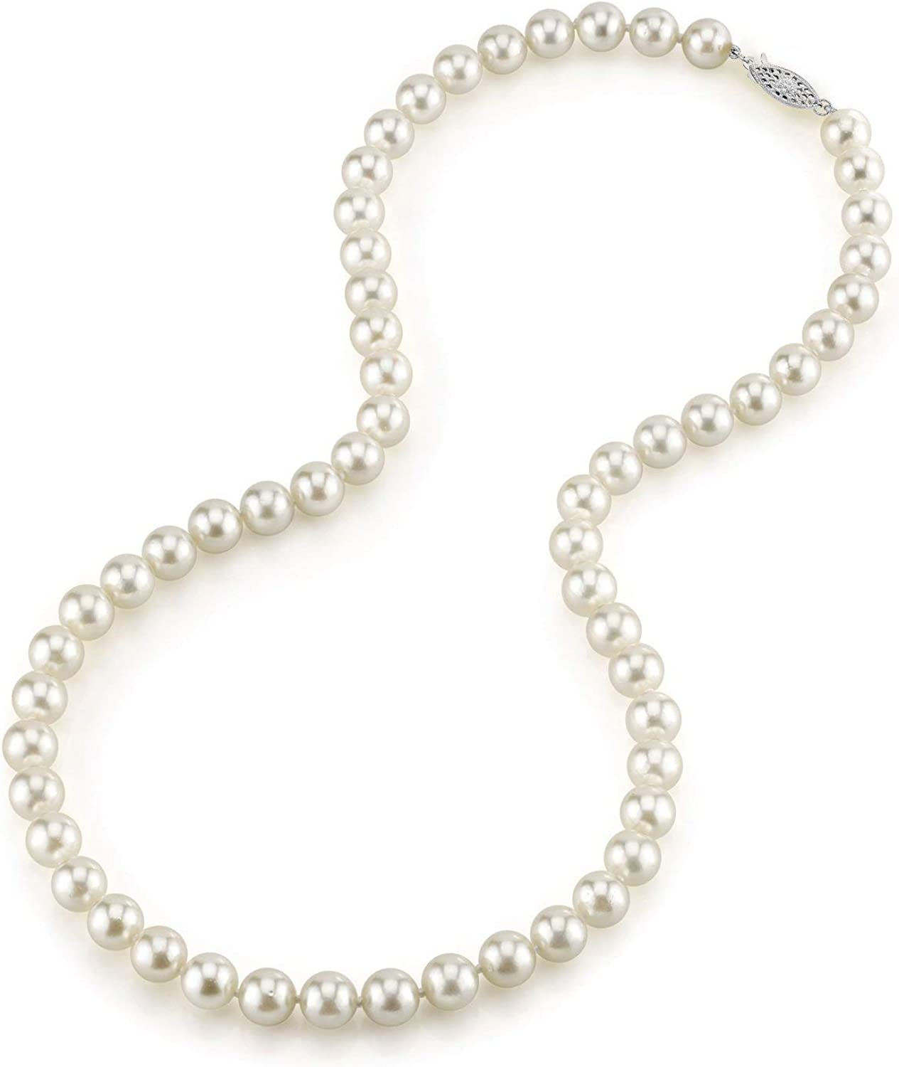 THE PEARL SOURCE 14K Gold 5.0-5.5mm Round Genuine White Japanese Akoya Saltwater Cultured Pearl Necklace in 18