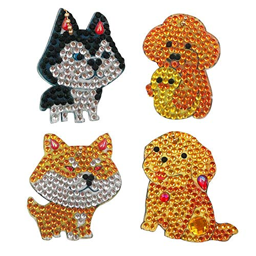 DIY Puppy Diamond Painting Keychain Kits Christmas Gifts 4pcs Full Drill 5D Special Diamond Painting Dog Siberian Husky Women Purse Bag Backpack Phone Keyring Mosaic Making for Kids Adult Beginner