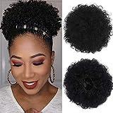 LEEONS Human Hair Puff Ponytail Kinky Curly Hair Bun Afro Puff Drawstring Ponytail For Black Women (8inch,Black)
