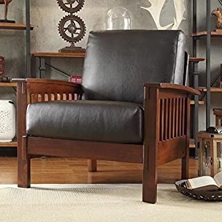 Home Creek Solid Oak Mission Chair with Faux Leather Seat