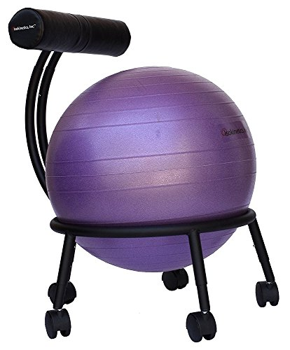 Isokinetics Inc. Brand Adjustable Fitness Ball Chair - Solid Black Metal Frame...