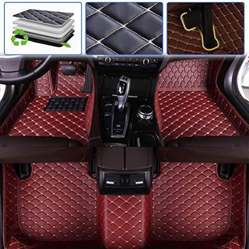Custom Car Floor Mats for Toyota Sequoia 2008-2010, 2010-1017 Luxury Leather Waterproof Anti-Skid Full Coverage Liner Front & Rear Mat/Set (Wine red)