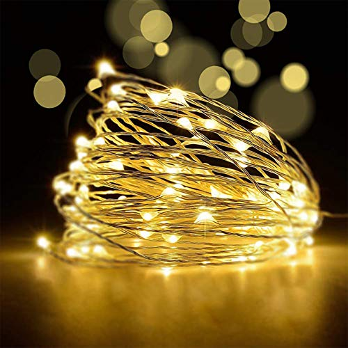LED イルミネーションライト 100球 10m 8点灯モード 電池式 防水仕様 調光可能 リモコン付属 クリスマス/ハロウィン/パーティー/バレンタインデー/新年/祝日/結婚式/学園祭誕生日会 屋外/室外/室内/庭対応 (ウォームホワイト)