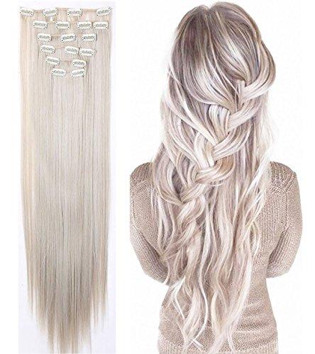S-noilite® 66cm Glatt 8 teiliges SET Clip in Extensions Haarverlängerung Haarteile Graublond mix Silbergrau