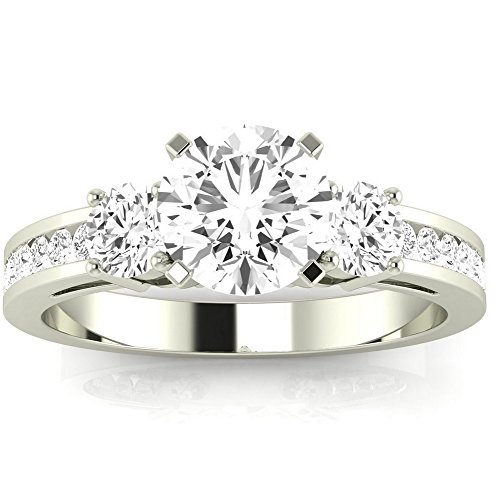 1.1 Carat t.w. 14K White Gold Round Channel Set 3 Three Stone Diamond Engagement Ring J I1 Clarity Center Stones.