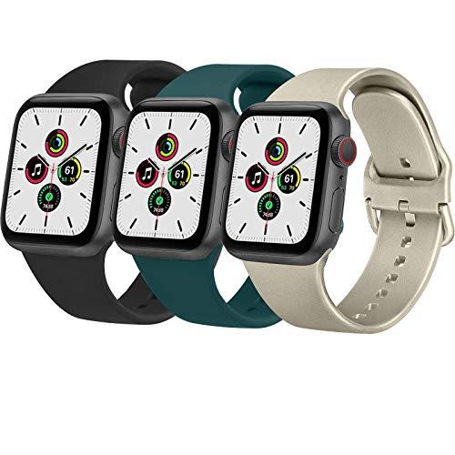 Wanme 3 Pack Correa Compatible con Apple Watch 38mm 42mm 40mm 44mm, Pulsera de Repuesto de Silicona Suave para iWatch Series SE 6 5 4 3 2 3, Mujer y Hombre (38mm/40mm,Negro/Verde Oscuro/Dorado