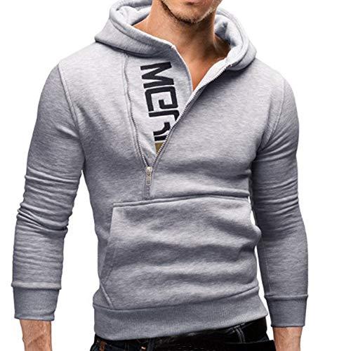 Riou Herren Langarm Hoodie Sweatshirt Slim fit Sweatjacke Kapuzenpullover Pullover T-Shirt Baumwoll Outwear Männer mit Kapuze Sweatshirt Tops Jacke Mantel Outwear (M, Grau B)