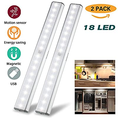 USB Rechargeable 10 LED Motion Sensor Light Cabinet Lights Closet Lighting,3 Light Modes(G,ON and OFF),Metal Aluminum Shell,Removable Stick-On Anywhere/Wardrobe/Stairs/Cupboard