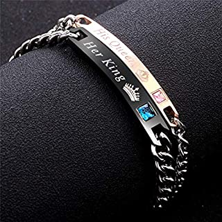 Fashion 2 Pcs Stainless Steel Couples Bracelets for Men Women His & Her Bracelet Chain Personalized King and Queen Bracele...