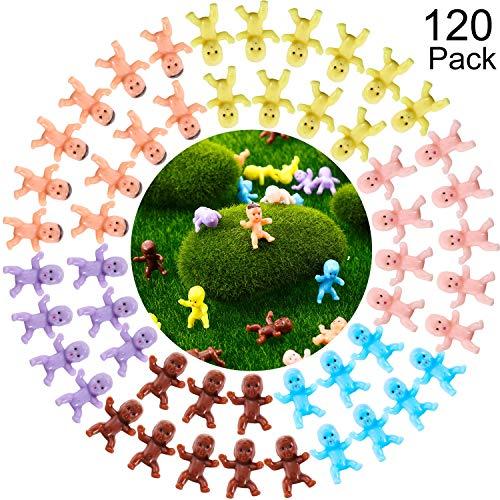 120 Stück Mini Plastik Babys Baby Party Party Favor Eiswürfel Spiel Party Dekorationen Baby Baden und Basteln (Dunkelbraun, Latein, Rosa, Gelb, Lila, Blau