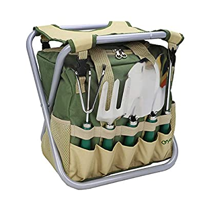 yodo 7 Piece Garden Tools Set for Men & Women - Heavy Duty Folding Stool Tote Bag and Stainless Steel Gardening Tools Includes Trowel Rake Cultivator, Medium