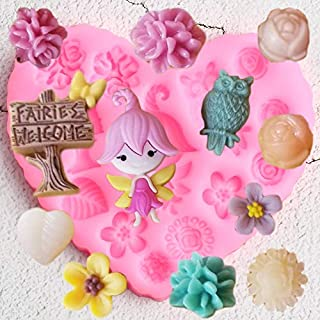 MOUJU Flower Garden Decoration Silicone Molds DIY Fairy Birds Cupcake Topper Fondant Cake Decorating Tools Candy Clay Choc...