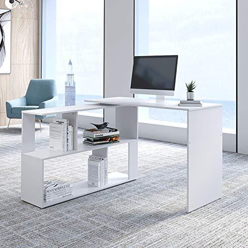 BELIWIN L- Shaped Rotating Corner Computer Desk Office Desk Workstation Laptop Table Gaming Desk for Home Office (White)
