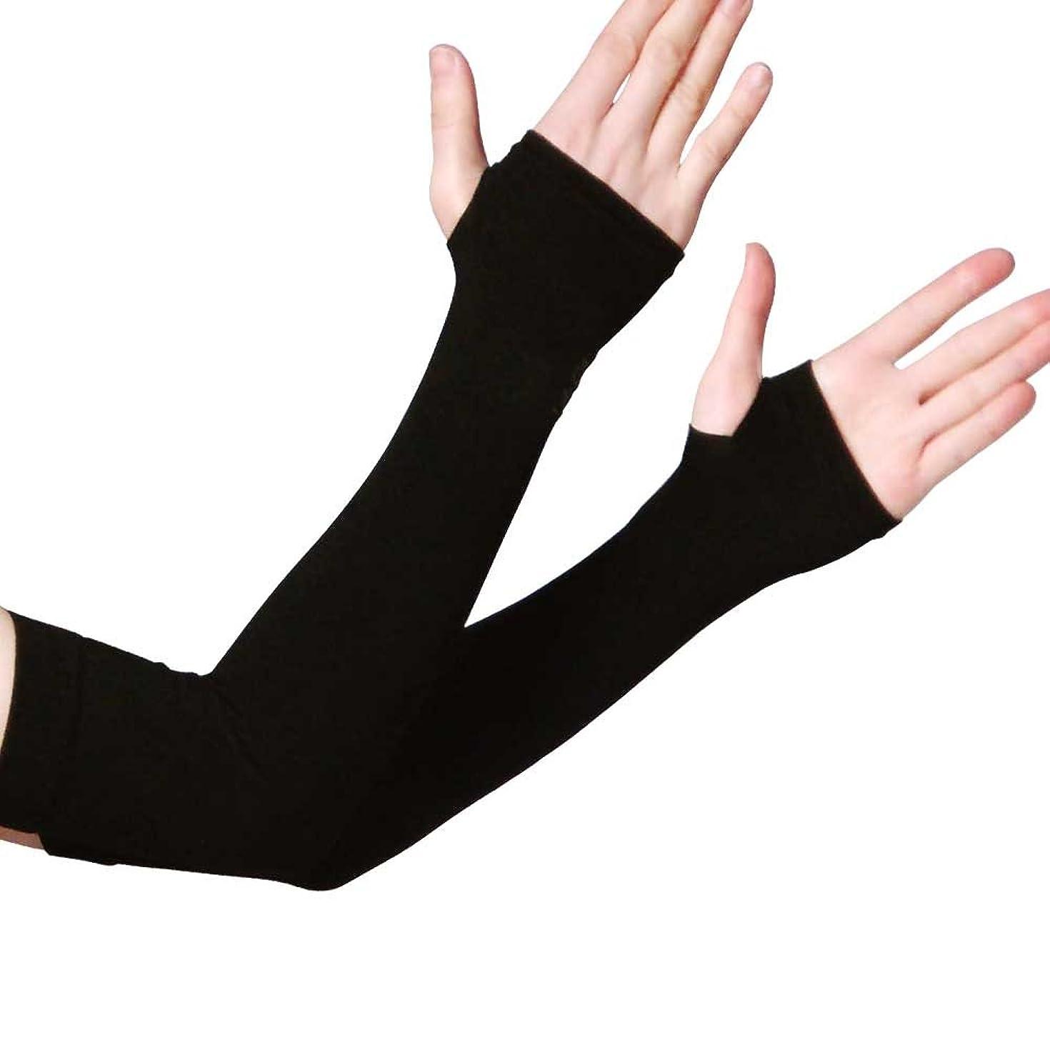 床洞察力のあるアスペクト涼感UVカット アームカバー 紫外線対策 99%カット 日焼け止め 紫外線ダメージ お肌 ガード 定番ブラック 涼感タイプアームカバー (ブラック)