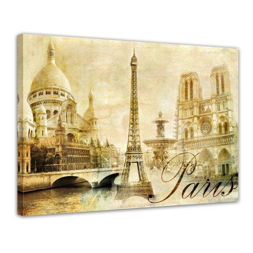 Bilderdepot24 Bild auf Leinwand | Paris in 80x60 cm als Wandbild | Wand-deko Dekoration Wohnung modern Bilder | 15097