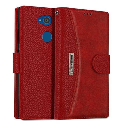 IDOOLS Leder Handyhülle für Sony Xperia L2, Handyhülle Handystand Kartenfächern Luxuriöse Aussehen Leder Flip Cover Brieftasche Etui Schutzhülle für Sony Xperia L2 - Rot