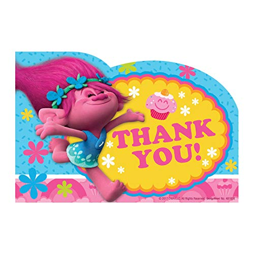 Amscan Trolls The Movie Thank You Notes 8 Piece Birthday Party Supplies
