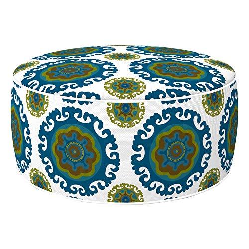 Aktive 79034 – Pouf gonfiabile Ottoman, poliestere filato, idrorepellente, 53 x 23 cm, etnico verde