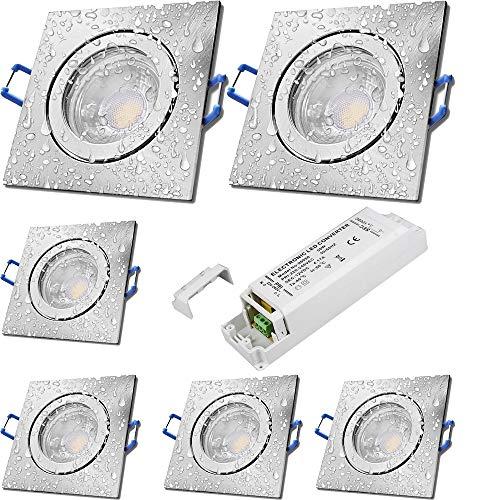 LED Bad Einbaustrahler 12V inkl. 6 x 5W LED LM Farbe Eisen geb. IP44 LED Einbauleuchten Neptun Eckig 3000K mit Trafo