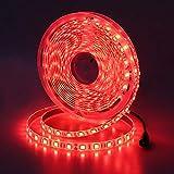 JOYLIT 12V Tiras LED Iluminación Rojo 300 LEDs SMD5050, 5M IP65 Impermeable Luces LED para Armario,...