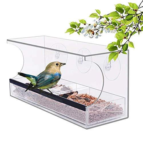 Lamps Comederos para pájaros con Ventana Comedero Grande para pájaros en el Exterior con 3 ventosas y Bandeja extraíble, Soporte Transparente acrílico Colgante