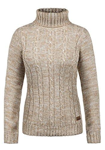 DESIRES Philipa Damen Rollkragenpullover Pullover Zopfstrick Mit Rollkragen Aus 100% Baumwolle, Größe:M, Farbe:Dune (5409)