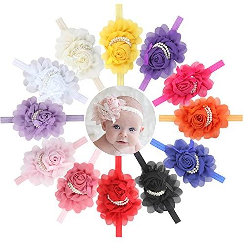 Diadema de bebé niña Accesorios para el cabello de la banda de la ropa de la flor perla recién nacido Headwear diadema diadema niños niños niños-lavanda 2PCS