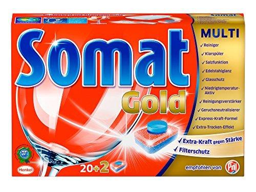 Somat Oro con 22 pastillas para vajilla limpia y brillante, 400 g.
