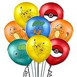 ZSWQ Palloncini Compleanno 40 Pezzi Palloncini Pikachu Palloncini Palloncini in Lattice Palloncini con Lettere con Nastri e Adesivi Trasparenti per Decorazioni di Compleanno
