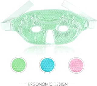 NEWGO®Cooling Face Mask Gel Bead Eye Mask for Puffy Eyes, Reusable Freezer Face Mask Gel Mask for Sinus Pressure Face Puffiness Headaches - Green