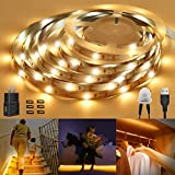 LED Strip Lights, 9.84ft Motion Sensor Night Light with Automatic Shut Off Timer, 3000K Warm White Dimmable 2835 LEDs Flexible Strip Lighting for Home, Kitchen, Under Cabinet, Bedroom