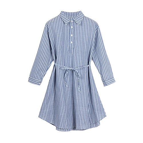 Maternity Dress Clothes for Women Pregnant Long Sleeve Dress Striped Dress for Women in Pregnancy Blue