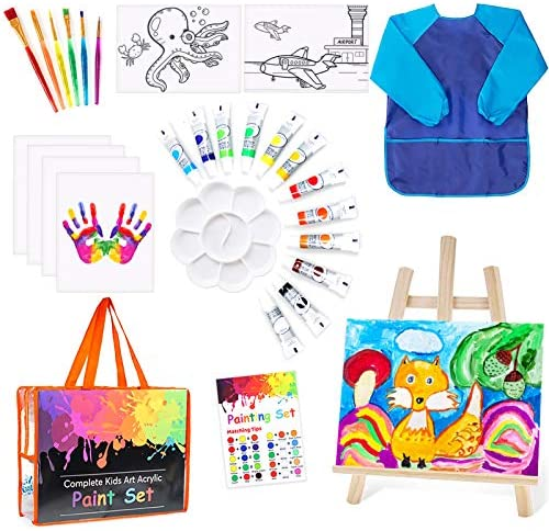 Paint Set Toy for Kids 27 Pcs of Acrylic Kids Painting Set Supplies Drawing Easel Paintbrushes product image