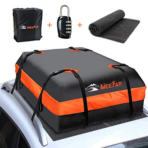 XBEEK Car Roof Bag Rooftop Cargo Carrier Waterproof 15 Cubic feet Car Top Carrier for All Cars with/Without Rack, Includes Anti-Slip Mat, 8 Reinforced Straps, 6 Door Hooks, Luggage Lock