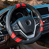 Achiou Red Car Steering Wheel Cover Universal 15 inch with Grip Contours, Leather Auto for Men and Women Non-Slip Breathable Soft and Comfortable